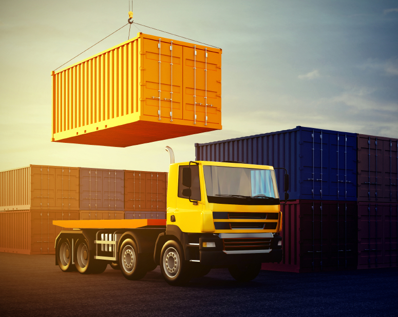 3d illustration of orange truck on background of stack of freight containers