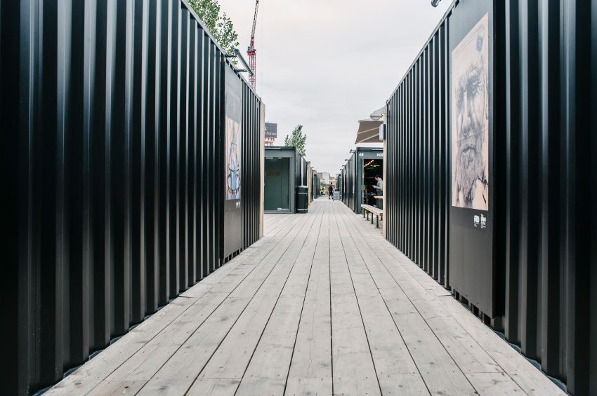 Waterproofed steel shipping container