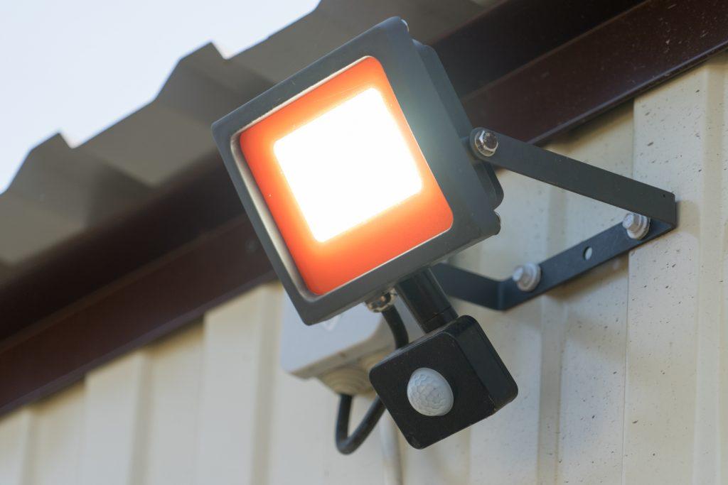 Led spotlight with motion sensor.